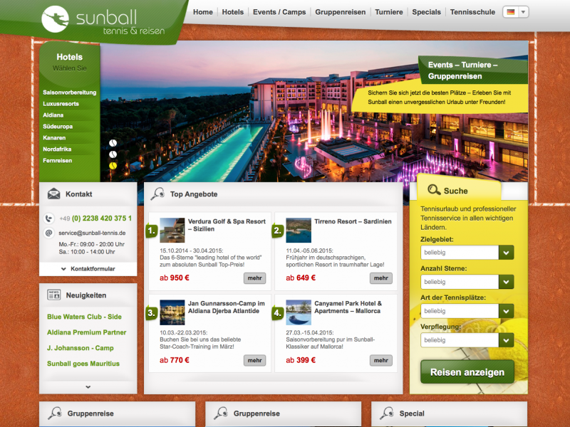Webdesign Sunball Tennis